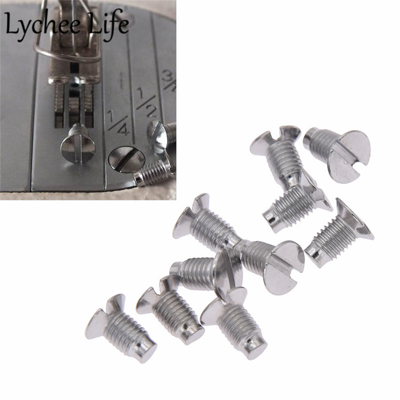 Lychee Life 10pcs Industrial Screws Needle Plate Stainless Steel Sewing Machine Parts DIY Handmade Factory Sewing Accessories