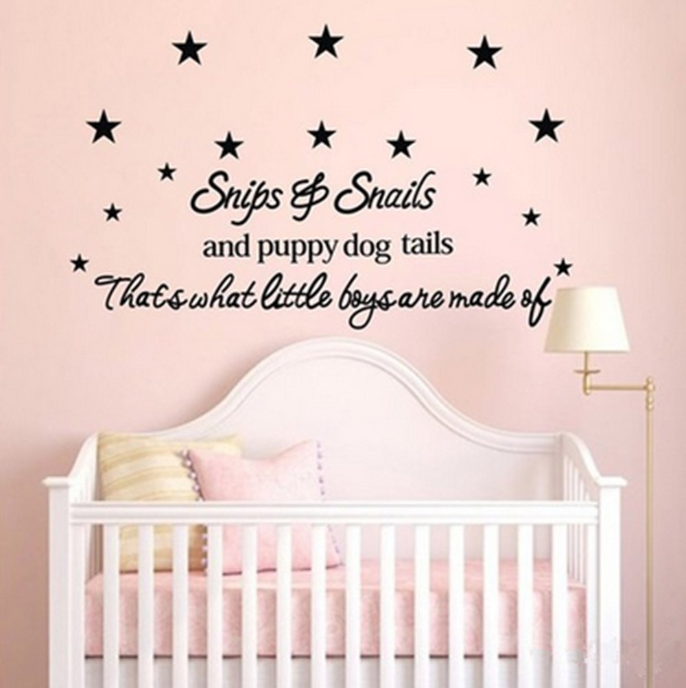 Snips Snails Puppy Dog Tails Star Baby Room Wall Stickers Decal For Kids Bedroom Nursery Decor 50 110cm In From Home Garden On