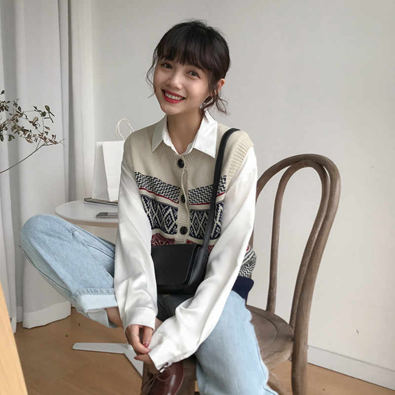 27d66478bbf autumn and winter vintage color patchwork single breasted button vest  sweaters womens sweaters and pullovers (