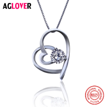 цена AAA 100% 925 Sterling Silver Love Heart Pendant Necklaces For Women White Round Cz Engagement Fine Jewelry Free Shipping онлайн в 2017 году
