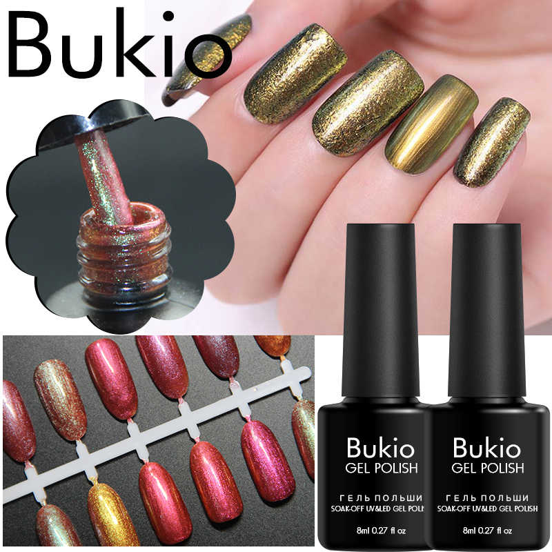 Bukio Chameleon Uv Nail Gel Polish 12 Colors Long-lasting Nail Powder Mirror Effect Gel Lacquer Soak Off UV Gel for Manicure