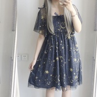Summer lolita dress japanese kawaii girl moon star embroidered victorian dress tea party gothic lolita op tea party loli cos