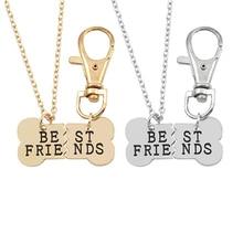 Fashion 2Pcs/Set Pet Dog Bones Best Friend Necklace Female Animal Bone Key Chain Friendship and Pendant Colar