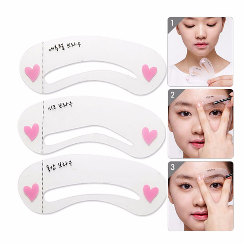 3 styles/set Grooming Stencil Kit Shaping DIY Beauty Eyebrow Template Make Up Tool Hot Sale eyebrow grooming kit