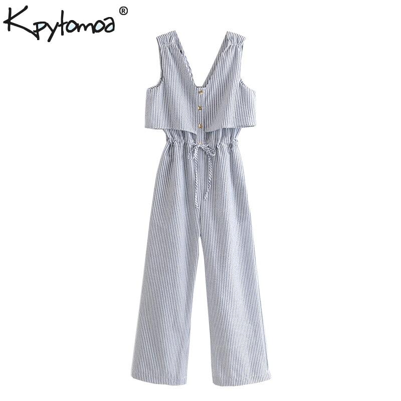 Vintage Stylish Buttoned Striped   Jumpsuits   Women 2019 Fashion V Neck Sleeveless Drawstring Ankle Pants Casual Bodysuit Femme