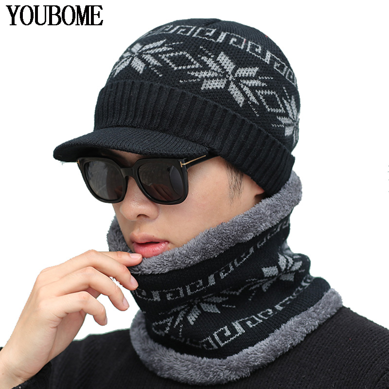 YOUBOME Skullies Beanies Winter Hat Beanies For Men Women Knitted Hat Scarf Men Warm Neck Thick Male Ring Winter Hat Cap