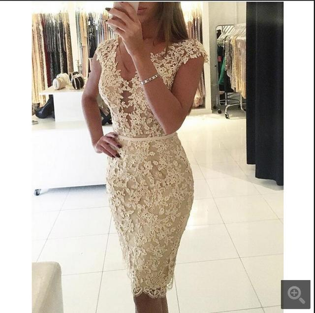 f3a93be0227 2017 fashion new arrival champagne lace short v neck prom dress beaded cap  sleeve modest petite girlsl prom gowns free shipping