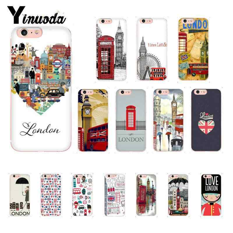 Yinuoda I love United Kingdom London Black TPU Soft Phone Case Cover for iPhone 8 7 6 6S 6Plus X XS MAX 5 5S SE XR 10 Cover