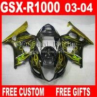Бесплатные заказ Зализы для SUZUKI GSXR1000 K3 черный желтый огонь 2003 2004 обтекателя комплекты 03 04 GSXR 1000 GSX R 1000 7 подарки KI573