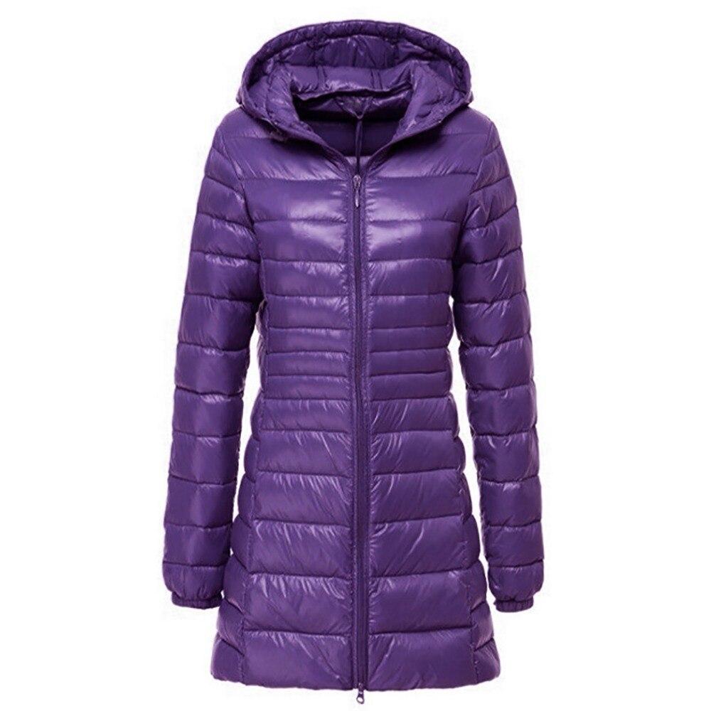 2018 Brand Winter Long Down Jacket Women Ultra Light Down Ladies Warm Hooded Coat Women Ultra Light 90% White Duck Down Parka