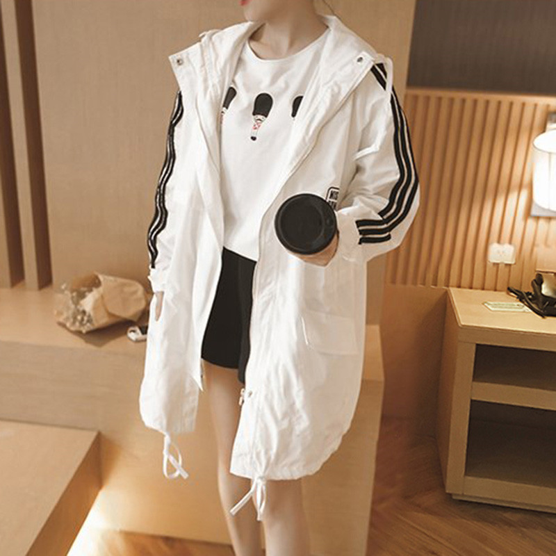 2019 Autumn Casual Thin Windbreaker Women Letter Hooded   Trench   Coat Female Korean Medium Long Sunscreen Clothing Plus Size 5XL