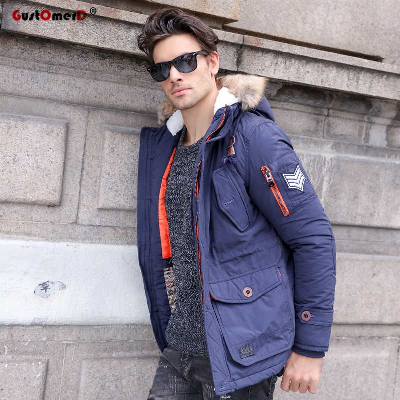 GustOmerD 2017 New Fashion Brand Fur Collar Winter Jacket Men Casual Style Multi-pocket Thicken Cotton Warm Winter Coat Men 2014 new european and american style high collar coat fur clothing brand men s fashion casual plaid cotton jacket