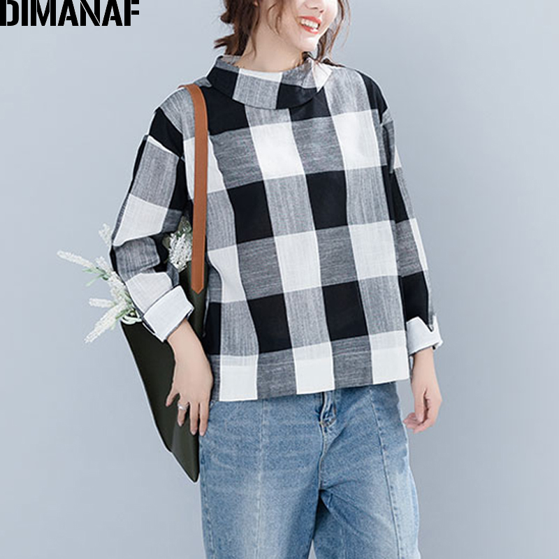 DIMANAF Women   Blouse     Shirts   Plus Size Ladies Tops Female Clothes Linen Vintage Long Sleeve Plaid Black Loose Tunic 2018 Autumn