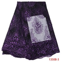 Lila Französisch Spitze Stoff Hohe Qualität Polyester Stickerei Tüll Afrikanischen Französisch Spitze Stoff Mit Perlen Für Frauen XZ1350B-2