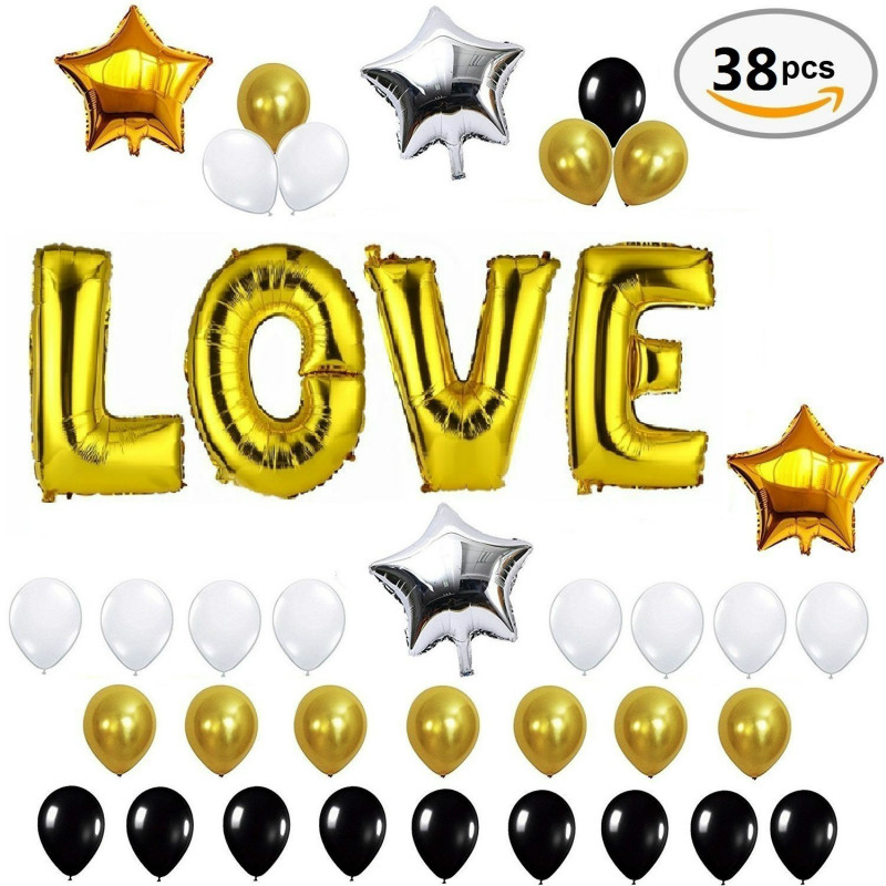 Party Golden Love Letters Balloons foil mylar star balloon with Latex Balloons Set-Romantic Wedding Decoration Party Anniversary