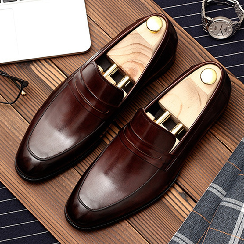 Basic Designer Round Toe Slip On Man Casual Shoes Genuine Leather Male Office Loafers Comfortable Men's Formal Flats DM142