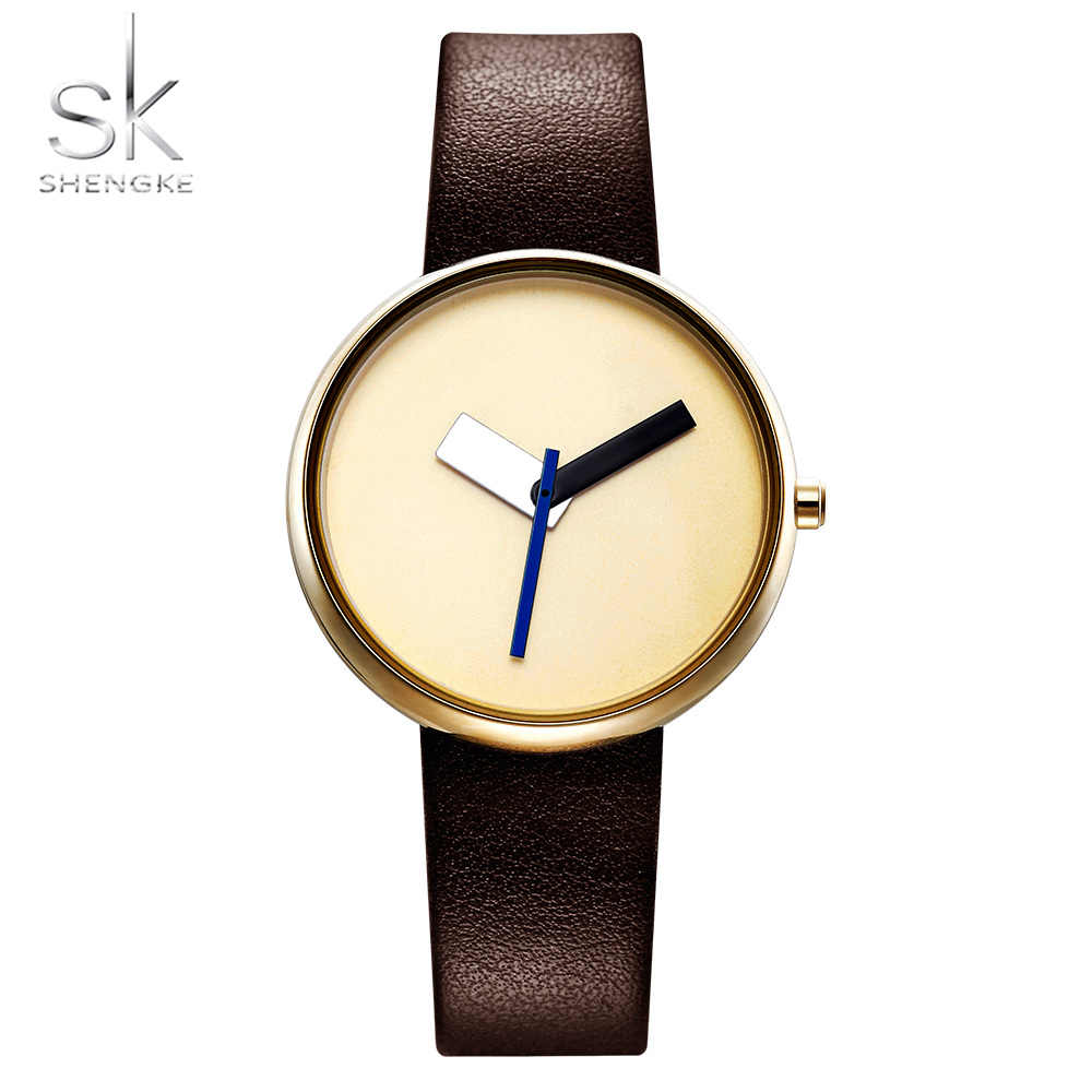 Shengke Top Brand Luxury Women Simple Wrist Watch Brown Leather Watch Women Causal Style Fashion Design Watches Female