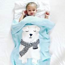 Baby Blankets For Newborn Linens Baby Bedding Bear Swaddle Warm Wool Muslin Swaddle Kids Bath Towel Handmade Blanket(China)