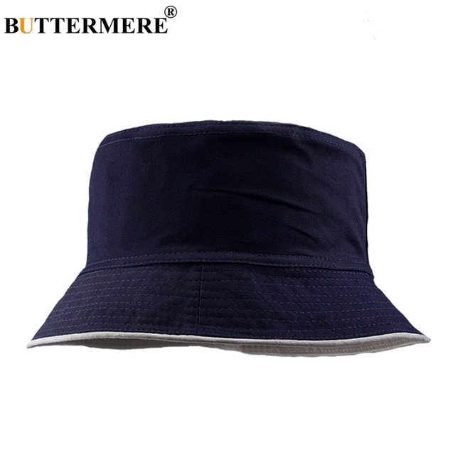 c61db87443d BUTTERMERE Womens Navy Blue Bucket Hat Basic Classic Cotton Fishing Caps  Male Casual Fashionable Wide Brimmed Fishing Hat Cap