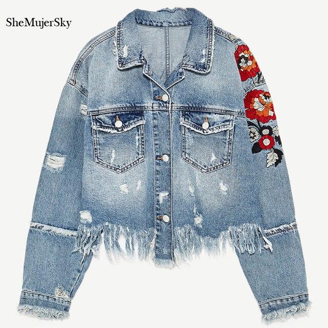 SheMujerSky Denim Jacket Women Embroidered Denim Jackets Floral Hole Coat  jaqueta feminina veste en jean 1681f7101
