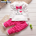 2016 New Autumn Baby Girls Clothes Sets Cotton Letter Printed Long Sleeve T-shirt +Polka Dot Pant 2pcs Suits Kids Clothing 1-4y