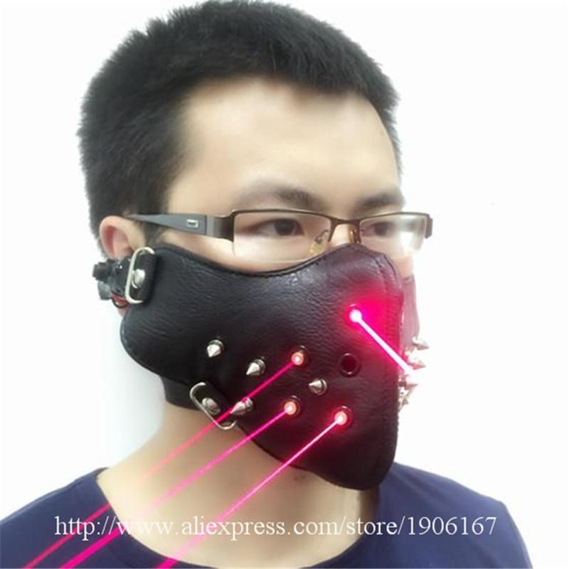 Neueste Rote Laser Maske Leuchtenden Leuchten Laserman Anzeigen Halloween Masken Für Laser bühnenshow Tänzerin Partei Liefert - 2