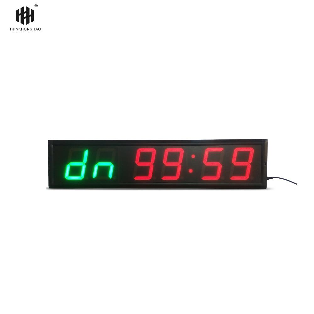 Fret livraison 4 ''6 Chiffres LED Compte À Rebours Horloge Minuterie D'entraînement Pour Garage Home Gym Crossfit Formation EMOM Tabata de Remise En Forme minuterie