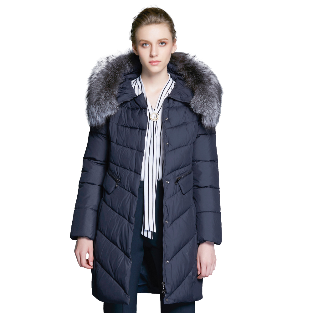 ICEbear 2017  Winter Coat Women High Quality Warm Detachable Fur Collar Pocket With Two-Way Zipper Casual Jackets 17G6560D