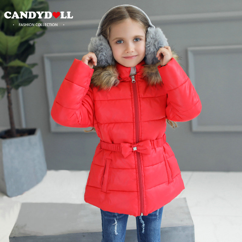 Candydoll Children Girls Winter Soild Red Warm Coat Outerwear Cotton-padded Fur Hooded Jacket Kids Casual Bow Belt Parka SAJ3212 children winter coats jacket baby boys warm outerwear thickening outdoors kids snow proof coat parkas cotton padded clothes