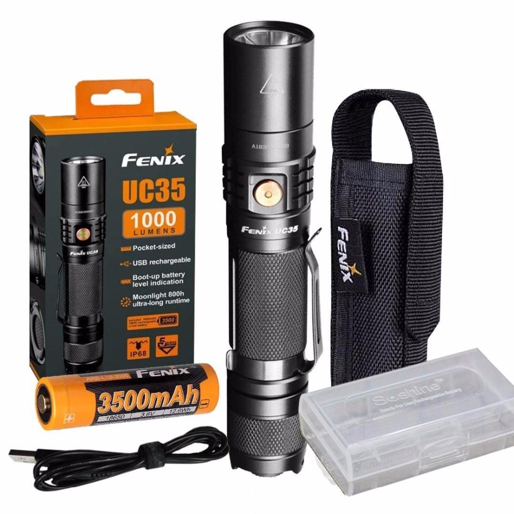 Fenix UC35 V2.0 2018 Upgrade 1000 Lumen Rechargeable Tactical Flashlight with 3500mAh Battery,Holster, USB Charging Cable fenix hp25r 1000 lumen headlamp rechargeable led flashlight