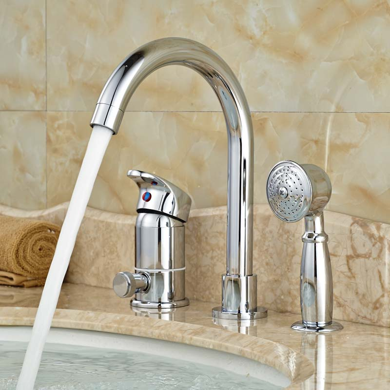 Good Quality Best Price Basin Sink Faucet for Bathroom 3 PCS with Brass Hand Shower Polished best price 5pin cable for outdoor printer