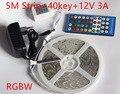 5050 LED Strip 5M 300Led SMD RGB  RGBW RGBWW Warm white  DC12V  RGB Flexible light + IR Remoter + 12V 3A Power supply  Lighting