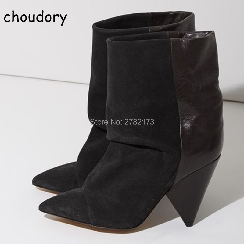 Suede Leather Women Winter Autumn Slip-on Pointed Toe Ankle Booties Sexy Fashion Spike Heels Short Boots Lady High Heels Shoes