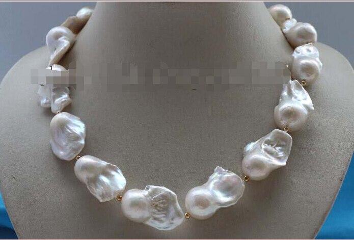 shipping17 Genuine Natural 30mm White Baroque Reborn Keshi Pearl Necklace 14KGP #f2137! цена