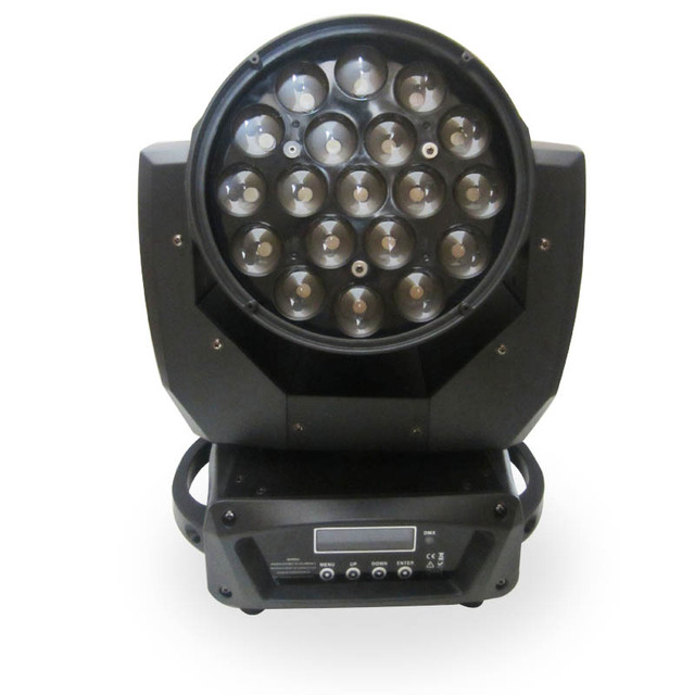 Cheap disco stage lighting equipment 19*12W 4 in 1 RGBW led zoom moving head wash disco light for dj equipment warm white color