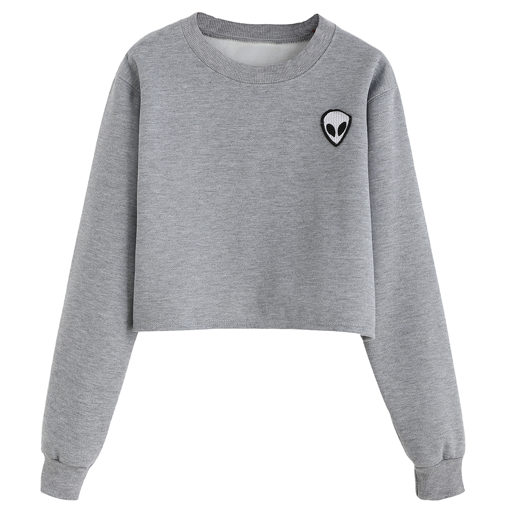 Alien Printed Long-sleeved Women Sweatshirt 2017 New Autumn Plus Velvet Hoodie Plus Size Loose Casual Short Sweatshirts Crop Top