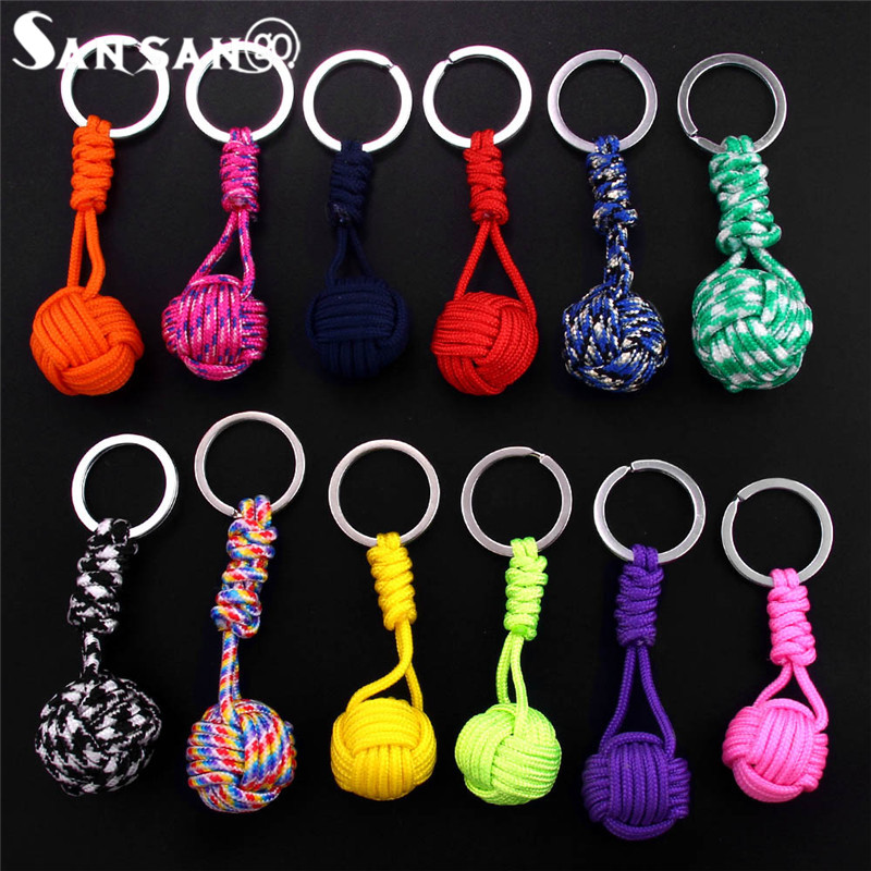 New Creative Design Polyester Braided Rope Ball Fist Key Chain Self Defense Parachute Lanyard Survival Outdoor Camping Jewelry