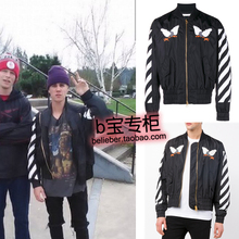 2016 new fashion Justin bieber off white trend lovers pilot jacket ma1 embroidery outerwear men jacket