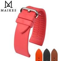 MAIKES New Good Quality Watch Accessories Watchbands 22mm 24mm Fluororubber Watch Bands Orange Fluoro Gum Rubber