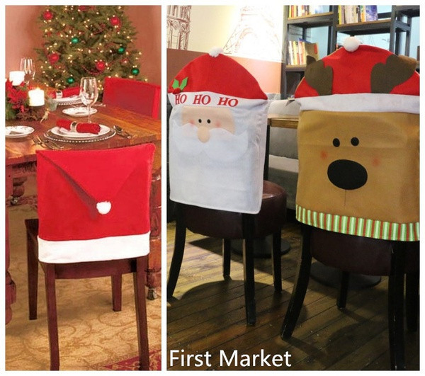 Christmas Chair Back Covers.Us 1 24 35 Off 1pcs Christmas Chair Back Cover Santa Clause Red Hat Christmas Decoration For Home New Year Decor Decoracion Navidad 2019 Kerst In