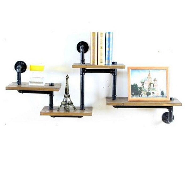 Aliexpress 1 STCK Industrierohr Bad Regal Metall Wand Wohnzimmer Bcherregal Dekorative Holz Kche Z29 Von Verlsslichen