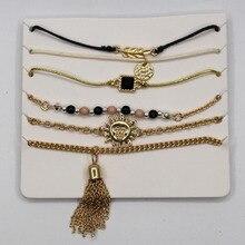 2017 free shipping fashion new women jewelry gold zinc alloy chain sun tassel bracelet clothing accessories wholesale