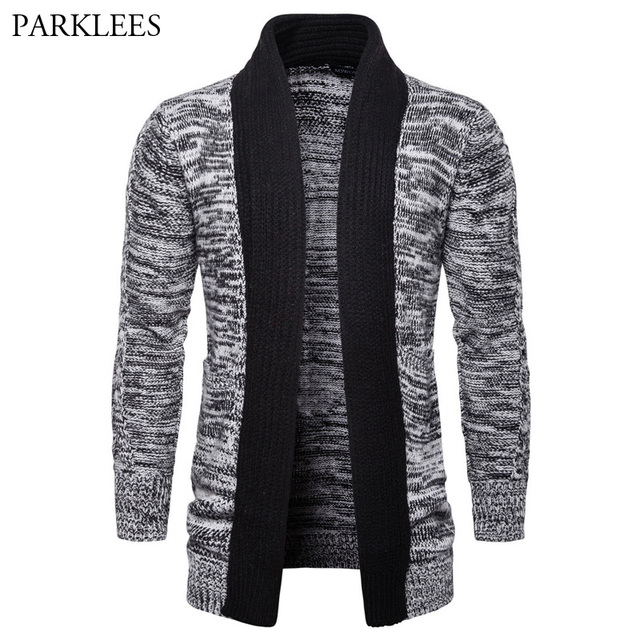 Men s Hipster Contrast Color Shawl Collar Knitted Cardigan Sweater 2018  Spring Autumn New Casual Cardigans Sweaters for Men 2XL d0fa0b8b0