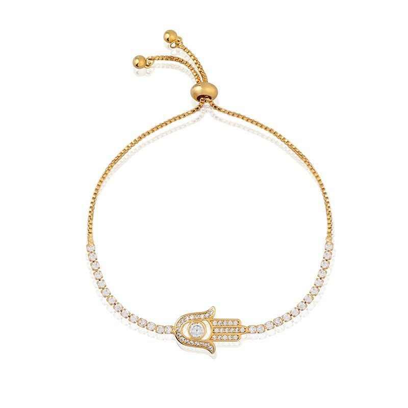 82362803496a OCESRIO pavimentado de Hamsa pulsera de plata encanto pulsera mano de  Fátima ajustable pulsera de joyería