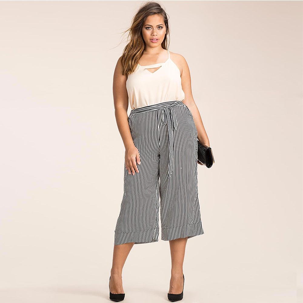 f3059a8338254 Kissmilk 2017 Plus Size Women Clothing Casual Striped Wide Leg Pants Soft  Chiffon Belt Big Large Size Pants 3XL 6XL-in Pants   Capris from Women s  Clothing ...