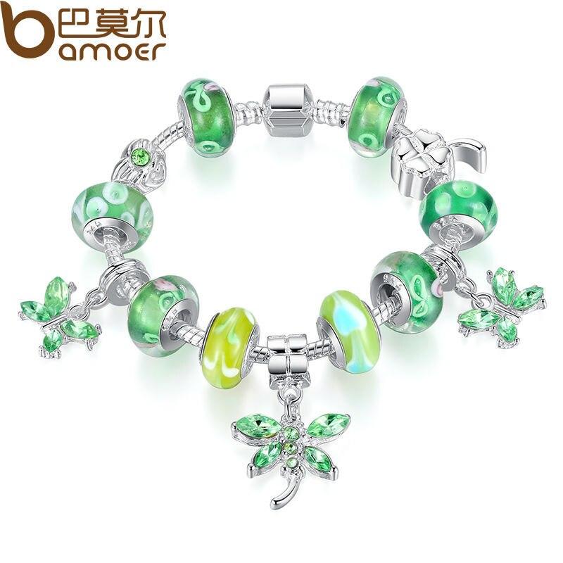 884ffc0a972a Bamoer plata mariposa encanto pulsera brazalete para las mujeres con  cristal verde estilo europeo DIY joyería PA1191