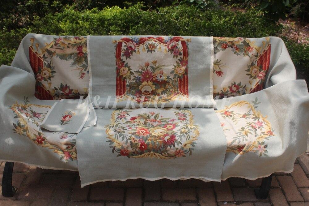 Бесплатная доставка Французский Aubusson ручной диван и стул Обложка Установить 1:4 с оружием вискоза aubusson Диван высокого уровня