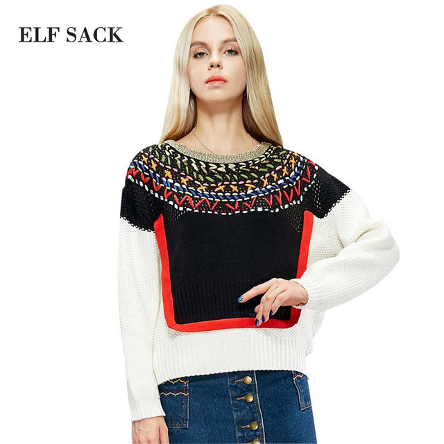 ELF SACK New Brand Clothing Ol Style Fashion Jacquard sweaters Round Neck Vintage Color Knit Pullover High Quality Sweater