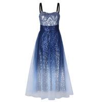 Sequined Gradient Dresses Women Beadings Spaghetti Strap Diamond Sequined Gradient Color Long Party Dress Slim Boho