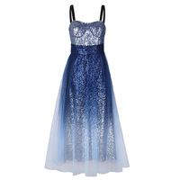 Sequined Gradient Dresses Women Beadings Spaghetti Strap Diamond Sequined Gradient Color Long Party Dress Slim Boho